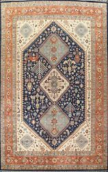 Vegetable Dye Geometric Tribal Yalameh Oriental Hand-knotted Area Rug 10and039x13and039