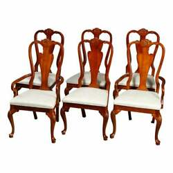 Vintage Set Of Six Queen Anne Style Carved Cherry Dining Room Chairs, Circa 1940
