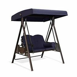 Purple Leaf 2-seat Deluxe Outdoor Patio Porch Swing Weather Resistant Navy Blue