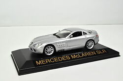 Mercedes-benz Slr Mclaren Scale 143 Silver From Atlas With Display Cabinet