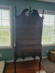 Antique Mahogany Chippendale 11 Drawer Highboy And Dresser / Mirror Bedroom Set