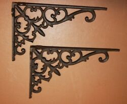 French Country Antique Style Cast Iron Shelf Brackets, 9 3/8 Inches, B-26