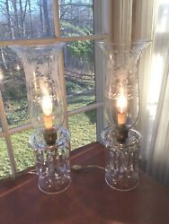 Antique Pair Cut And Etched Crystal Hurricane Lamps W/ Prisms Czechslovakia