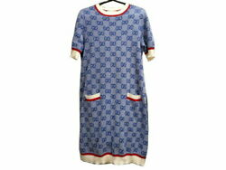 Pole Gg Knit Dress Wool Cotton Blue White Red 2019ss Tops Short No.9870