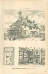 Antique Architects Print A Country House Hampshire The Builder 1886
