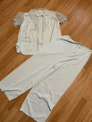 Vintage Luxite By Holeproof Bed Jacket Pant Peignoir Blue Nylon W/ Lace Size 18