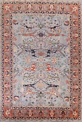Vegetable Dye Geometric Ziegler Oriental Area Rug Light Blue Hand-knotted 9and039x12and039