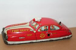 Nice Vintage Large 1950 Marx Tin Litho Wind Up Fire Chief Car