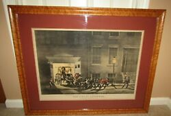 Orig. 1854 Currier And Ives The Life Of A Fireman-the Night Alarm Large Folio