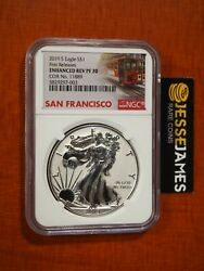 2019 S Enhanced Reverse Proof Silver Eagle Ngc Pf70 First Releases W/ Coa 11889