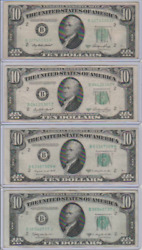 1950 Series A, C And D 10 Ten Dollar Bill Federal Reserve Bank Note Lot - Ny