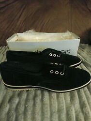 Vintage Grasshopper Velveteen Tie Shoes Black By Keds Old New Stock Size 6.5s