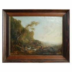 Antique European Oil Painting Landscape With Figures And Livestock Mid-19th C