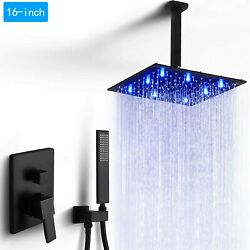 Shower Faucet Set With Mixer Valve 16'' Rainfall Led Shower Head Ceiling Mounted