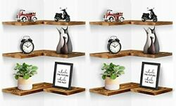 Corner Floating Shelves Wall Mounted L-shaped Equilateral, 6 Pcs Burnt Wood