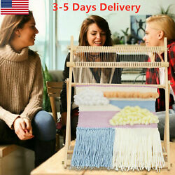 Weaving Loom Kit Large With Stand Wooden Looming Set Tapestry Loom Kit US