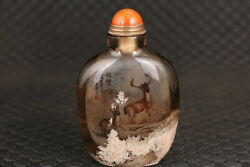Chinese Natural Crystal Hand Painting Deer Vs Dog Snuff Bottle