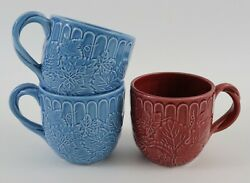 The Haldon Group Majolica Mugs Blue And Red 1988 Japan Set Of 3 - Excellent