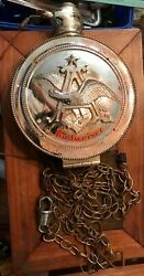 Vintage Budweiser Pocket Watch With Chain Sign Synchron For Parts Or Repair