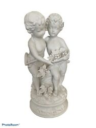 Andrea By Sadek Figurine Cherubs Holding Grapes Bisque White