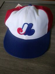 Vtg Montreal Expos New Era Hat Cap 7 3/8 Red Blue Fitted W/tags Made In 🇺🇸
