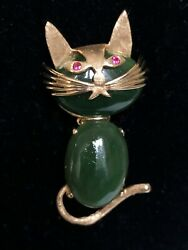 Vintage 14kt Gold Cat With Ruby Eyes And Jade/jadeite With Tail And Whiskers
