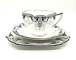 Shelley Queen Anne Shape Black Medallions Bone China Trio Cup And Saucer Set Mint