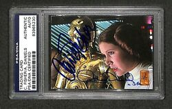 Carrie Fisher And Anthony Daniels Leia And C-3po Topps Star Wars Card Signed Psa