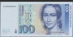 100 Mark 1991 Unc Absolutly Rare With Strange Serialnumber