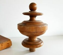 Antique Turned Wood Finial Architectural Newel Post Furniture Salvage 4.65 Inche