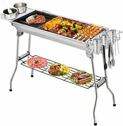 Portable Grill Bbq Smoker Charcoal Outdoor Camping Patio Wood Barbeque Oven Us