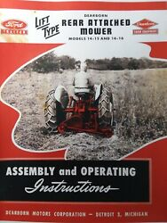 Dearborn Farm Ford Tractor Sickle Mower 14-15 14-16 Owner And Service Parts Manual