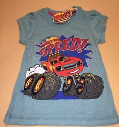 Blaze And The Monster Machines Toddler Girl Turquoise Short Sleeve Shirt New 4t