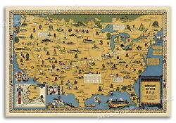 Indians Of The Usa Native American Tribes Historical Pictorial Map Poster 24x36