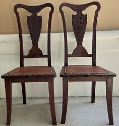 Antique Hand-carved Oak Splat Back Chairs W/leather Seat Green Man Set Of 2