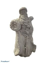 Old St. Nick Outdoor Cement Statue Holding A Wreath