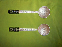 Vintage Pair Of Sterling Silver Decorated Spoons Obsidian Handles Aztec Calender