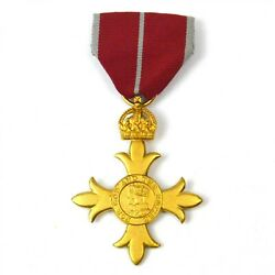 Full Size Obe Order Of The British Empire Medal With Ribbon Military Frosted