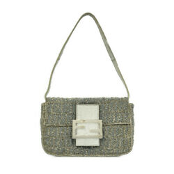 Pre-owned Fendi 8bk019 Zucchino Tote Bag Silver Gray Fabric Beads Free Shipping