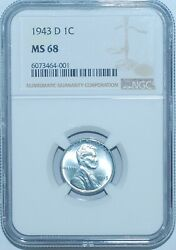 1943 D Ngc Ms68 Lincoln Wheat Steel Cent