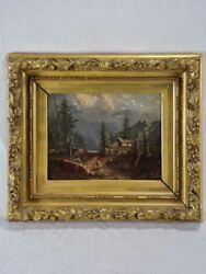 Small Early 19th Century Landscape Painting With Gilt Frame - Oil On Canvas 15