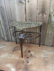 Antique Brass And Wrought Iron Fireplace Trivet Primitive