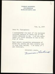 Norman Rockwell Signed Typed Letter 7 3/4 X 5 Jsa Certified