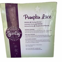 Scentsy Pumpkin Lace Scented Wax Candle Melter Black White w Box
