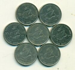 7 - 10 Cent Coins W/ Ships.the East Caribbean States.1986/87/94/1999/2000/02/04