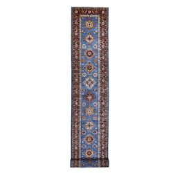 3and039x26and0398 Faded Blue Super Kazak Soft Wool Hand Knotted Xl Runner Rug R68285