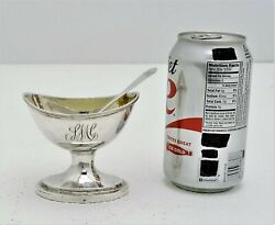 Early American Coin Silver Master Salt Cellar And Spoon S Richards Philadelphia