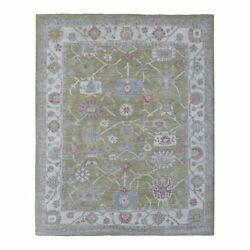 8and039x10and039 Angora Oushak Natural Wool Floral All Over Design Hand Knotted Rug R68213