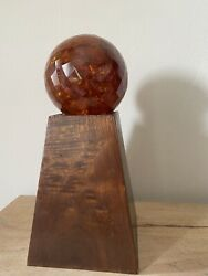 Mid Century Modern- Genuine- Faceted Amber And Wood Art Sculpture