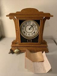 Antique 1915 Maple Ingraham Clock Eight Day +key+note Rare Made In Usa Vg+ Rare